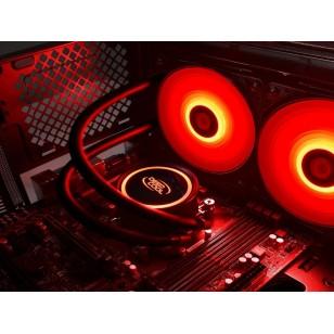 DEEP COOL GAMMAXX L240T-RED Soket Intel LGA20XX/LGA1366/LGA115X ve AMD AM4 / AM3 + / AM3 / AM2 + / AM2 / FM2 + / FM2 / FM1 destekli, Kırmızı LED li Sıvı bazlı İşlemci Soğutucusu