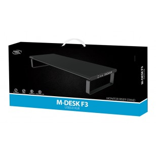 "DEEP COOL M-DESK F3 USB3.0 HUB LCD Monitor Stand up to 27""( Maximum 25kg) USB3.0+Ses+Mikrofon Port"